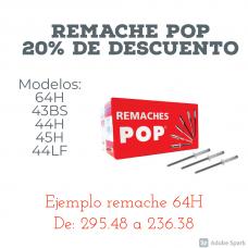 """(REMACHES) REMACHE CERRADO POP 3/16"""" X 1/4"""" CAJA DE 500PZ MOD. B64H"""